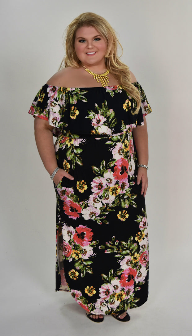 LD-A {Falling Into Floral} Black Floral Maxi Dress with Pockets  SALE!!