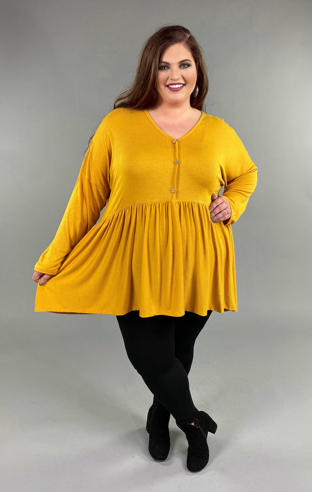 SLS-Q {Not So Simple}  SALE!! Mustard Babydoll Hi-Lo Top with Buttons Extended Plus Size