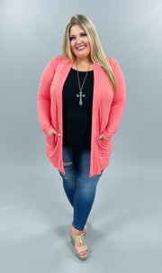 53 OT-A {Corally Yours} Coral Long Sleeve Light Weight Cardigan Plus Size XL 2X 3X