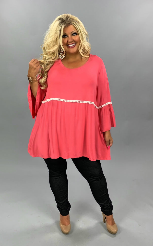 SD-E {Slightly Extra} Pink Bell Sleeve Tunic W/White Lace CURVY BRAND EXTENDED PLUS SIZE 3X 4X 5X 6X