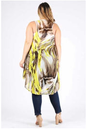 OT-H{Queen Bee} Sheer Yellow/Brown Asymetrical Vest