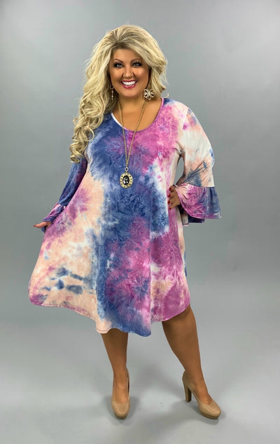 53 PQ-B {Don't Cha} Purple Pink Tie Dye Ruffled Sleeves Extended Plus 4X 5X 6X