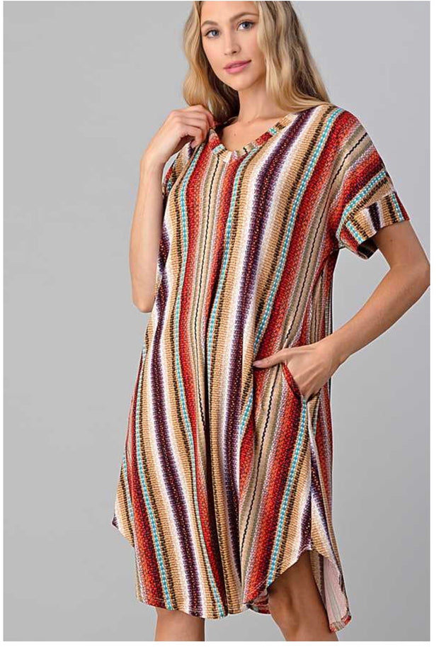 PSS-D {Desert Nights} SALE!! Tan, Orange Stripe Print V-Neck Dress PLUS SIZE 1X 2X 3X