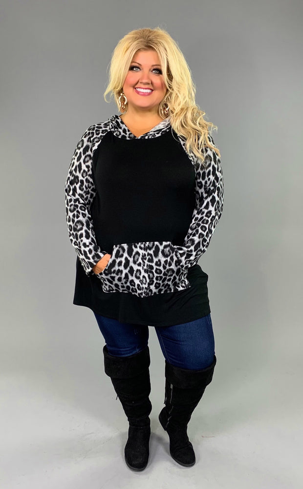 HD-M {I'll Be There For You} Black Cheetah Contrast Hoodie Extended Plus (SIZE UP 1 SIZE)