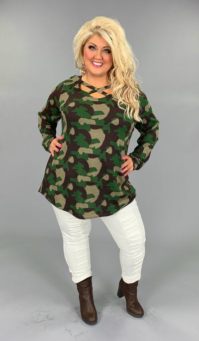 PLS-B {Comfy In Camo} Green/Brown Printed Criss-Cross Top  SALE!! PLUS SIZE 1X 2X 3X