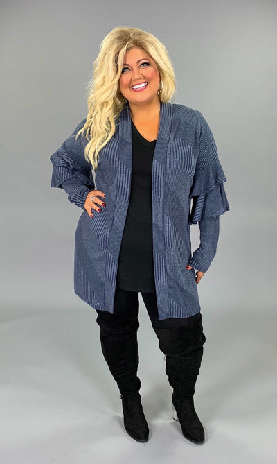 OT-L {Sweep Me Off My Feet} Blue Cardigan with Ruffle Sleeves