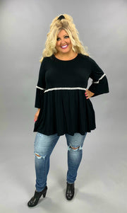 SD-C {Slightly Extra}  SALE!! Black Bell Sleeve Tunic W/White Lace Detail CURVY BRAND EXTENDED PLUS SIZE 3X 4X 5X 6X