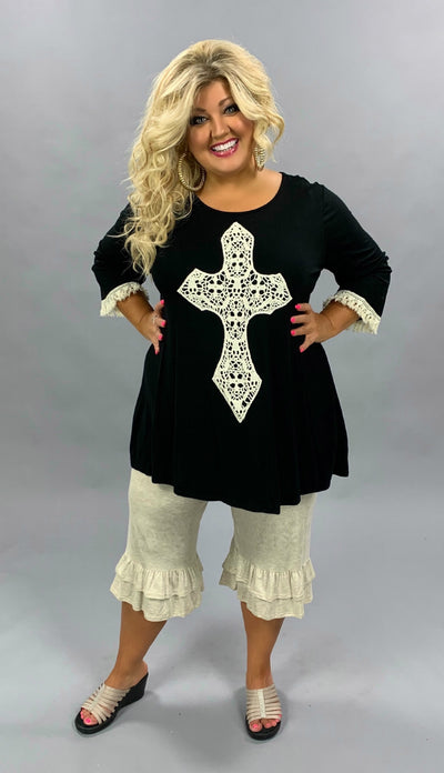GT-H {Most Loved} SALE!! Black 3/4 Sleeve Tunic W/Crochet Cross EXTENDED PLUS SIZE 3X 4X 5X 6X