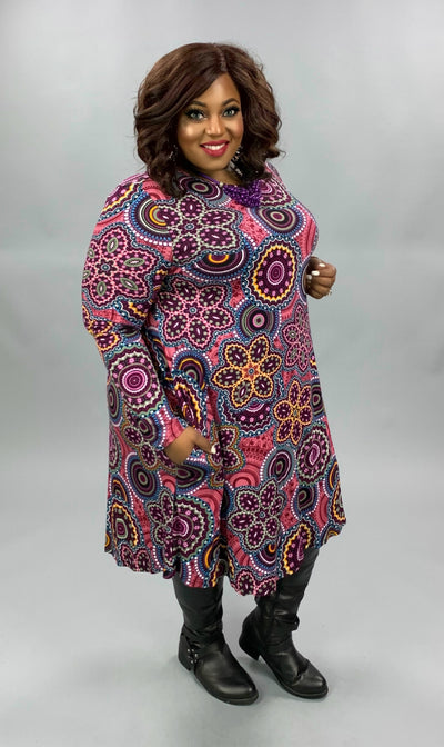 PLS-W {Because I Can} Burgundy Rust Mandela Print Dress EXTENDED PLUS SIZE 3X 4X 5X