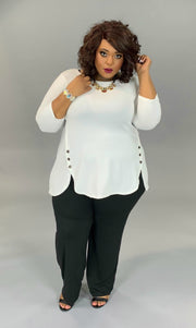 SD-C (All Put Together) Ivory Top With Dolphin Hem And Buttons PLUS SIZE 1X 2X 3X