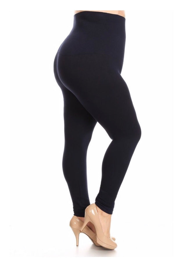 LEG/2- French-Terry NAVY Tummy Control Leggings