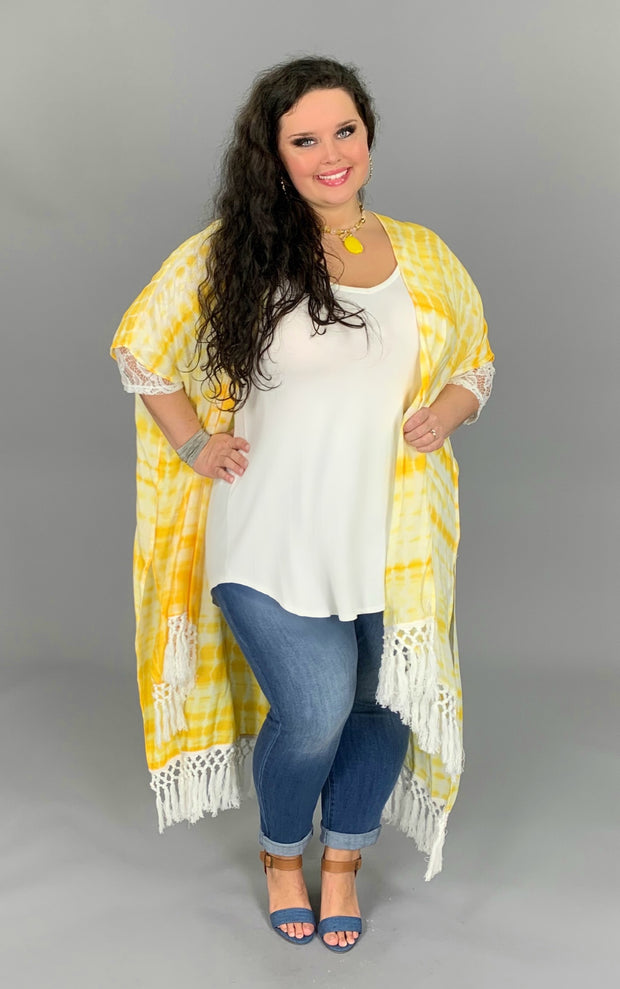 OT-J {Sun-Shiny Day} Yellow Tie-Dye Duster with Fringed Hem PLUS SIZE 1X/2X 2X/3X