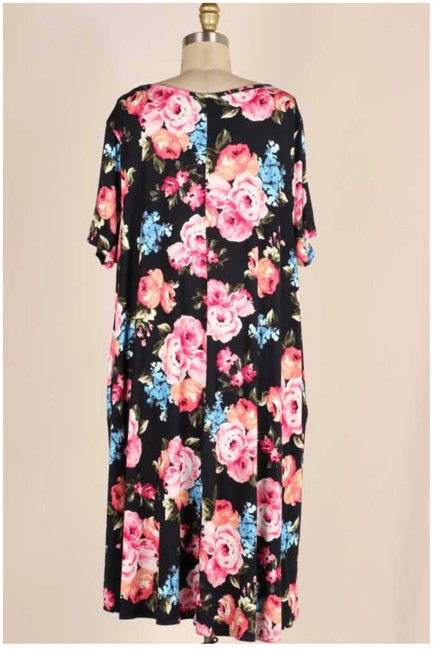 PSS-M {I Beg Your Pardon} Black Dress with Pink Floral Design EXTENDED PLUS SIZE 3X 4X 5X