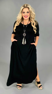 LD-C {Long Shot} Black V-Neck Dress with  Side Pockets