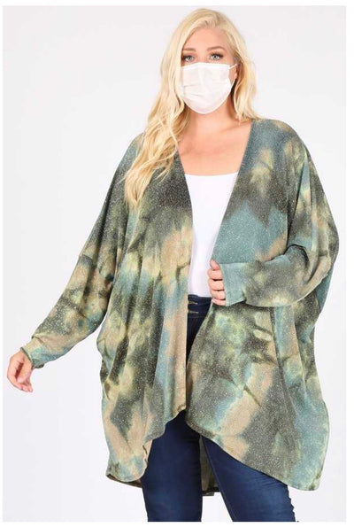 OT-A {Sparkle & Shine} Olive Blue Abstract Glitter Look Cardigan EXTENDED PLUS SIZE 3X 4X 5X