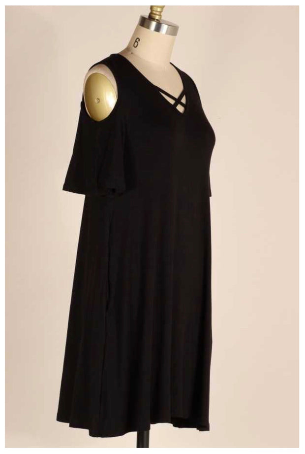 OS-D {Date Night} Black Open Shoulder Dress PLUS SIZE