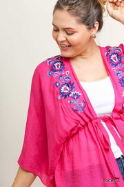 "OT-E{Dim The Lights}""Umgee""Fuchsia Kimono w/Embroidery Detail XL 1X 2X SALE!!"