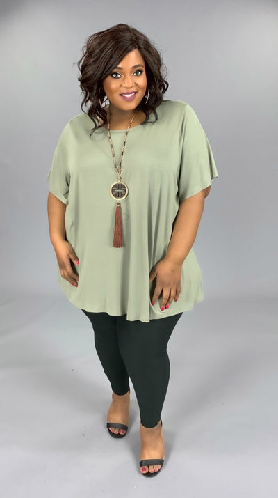 SSS-F (Bring On Summer) Olive Tunic W/ Rounded Hem EXTENDED PLUS 3X 4X 5X 6X