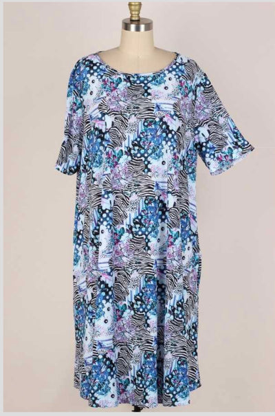 65 PSS-G {Fading Heartbreak}  Blue Floral Animal Print Dress EXTENDED PLUS SIZE 3X 4X 5X