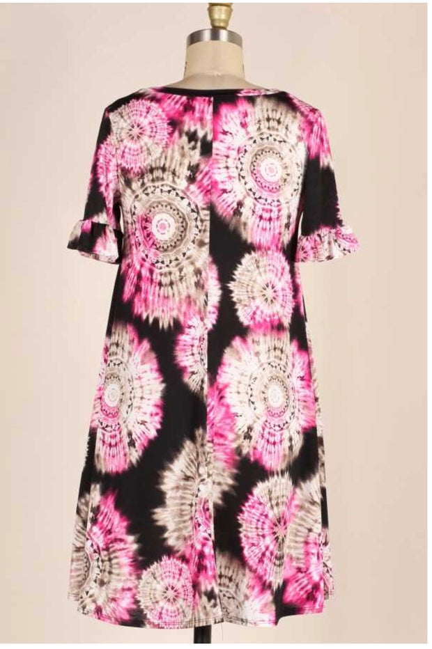 PSS-T {So Very Groovy} Brown/Fuchsia Tie-Dye Dress PLUS SIZE 1X 2X 3X