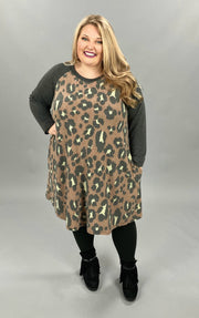 10-16 CP-L {Found My Ways} Grey Leopard Print Dress *SALE!!* CURVY BRAND EXTENDED PLUS SIZE 3X 4X 5X 6X