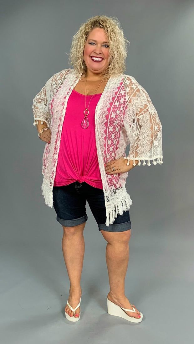 "OT-A ""KORI""  White Lace Cardigan with Tassel & Fringe Hem SALE!!"
