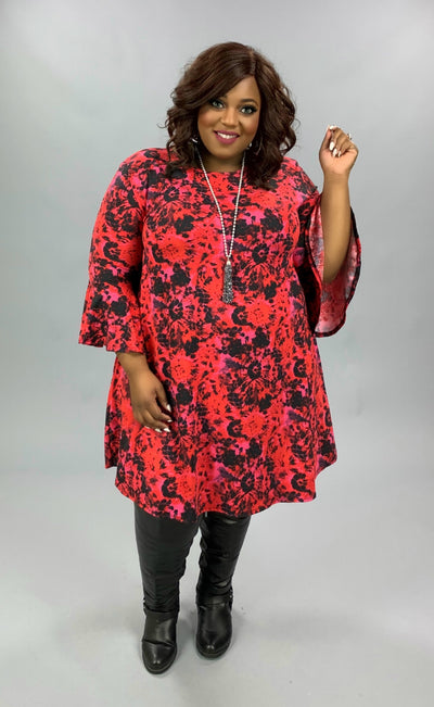 PQ-C {Fire In My Soul} Red Pink Black Printed Bell Sleeve Dress BUTTER SOFT EXTENDED PLUS SIZE 3X 4X 5X