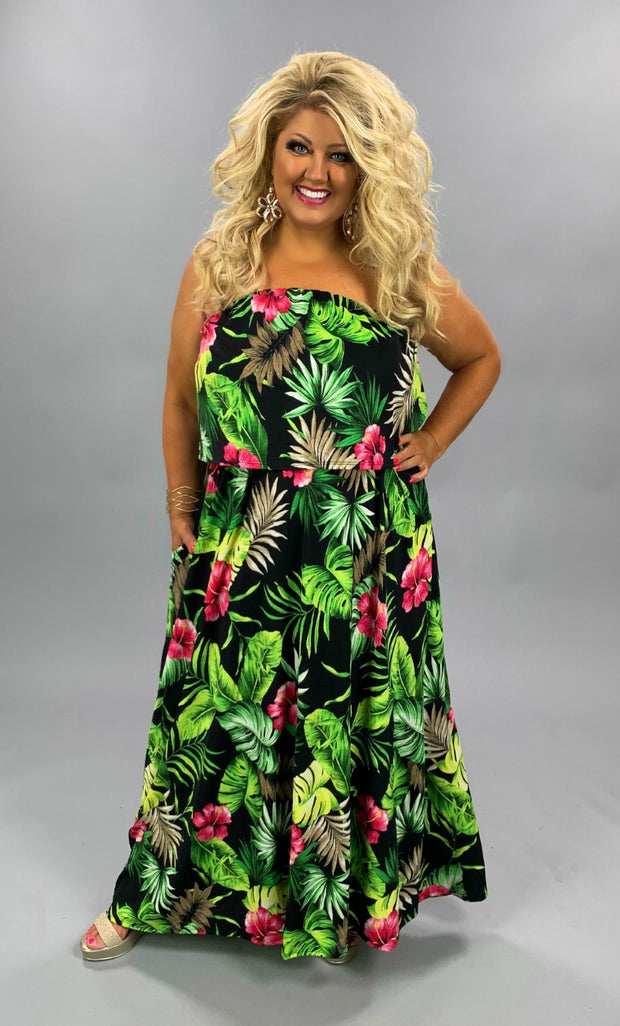LD-B {Tropical Beauty} SALE!!  Black Maxi Dress Green Tropical Leaves CURVY BRAND EXTENDED PLUS SIZE 3X 4X 5X 6X