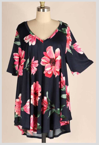 PSS-F {Surprise Me} Navy V-Neck Tunic W/Pink Flowers EXTENDED PLUS SIZE 3X 4X 5X