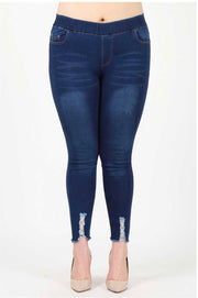10-16 BT-A {Distress Me Not} Dark Denim Banded Jeggings Extended Plus