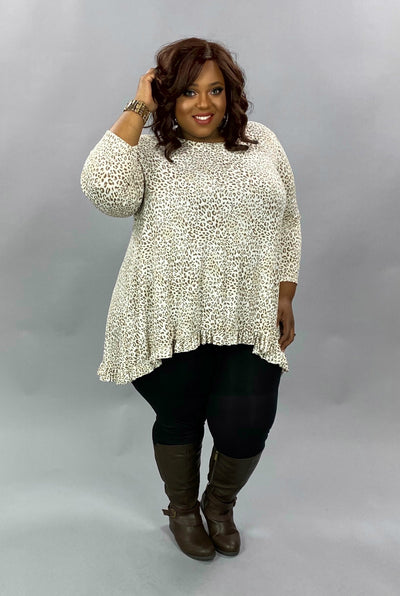 10-01 PLS-L {Come What May} Ivory Leopard Ruffle Hem Tunic