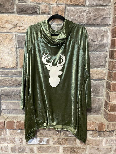 GT-O Olive Green Velvet Turtle Neck with Deer