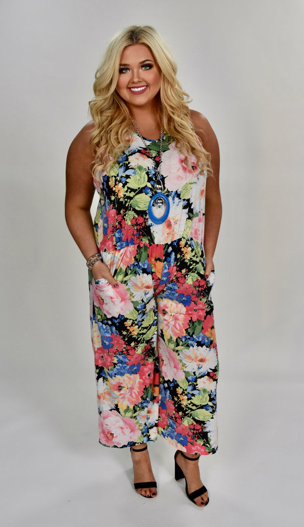 RP-A {Dream About Me} Floral Print V-Neck Romper