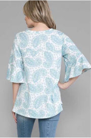 54 PSS-O {Seen It All} Teal Ivory Paisley Tunic EXTENDED PLUS SIZE 4X 5X 6X