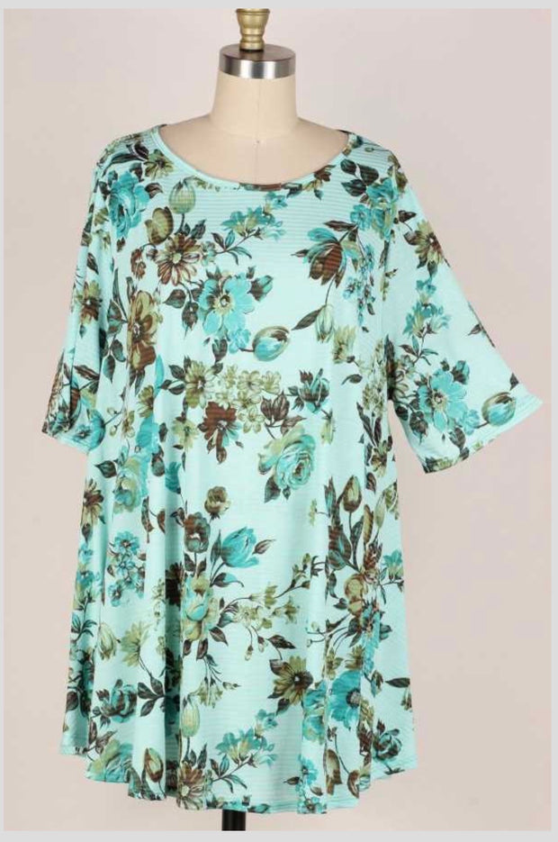 65 PSS-B {Mint For Flowers} Mint Striped Floral Print Tunic EXTENDED PLUS SIZE 3X 4X 5X