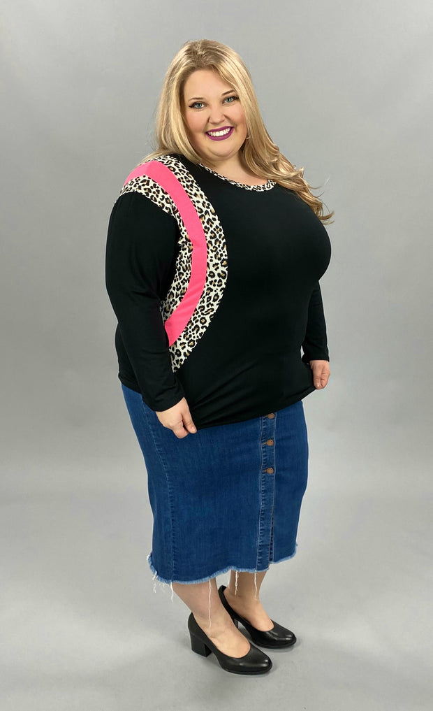 24 CP-L {Lucky In All}  SALE!! Black Pink Leopard Detail Top PLUS SIZE XL 2X 3X