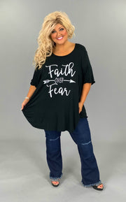 GT-D/X{Faith Over Fear} Black Faith Over Fear Graphic Tee CURVY BRAND EXTENDED PLUS SIZE 3X 4X 5X 6X