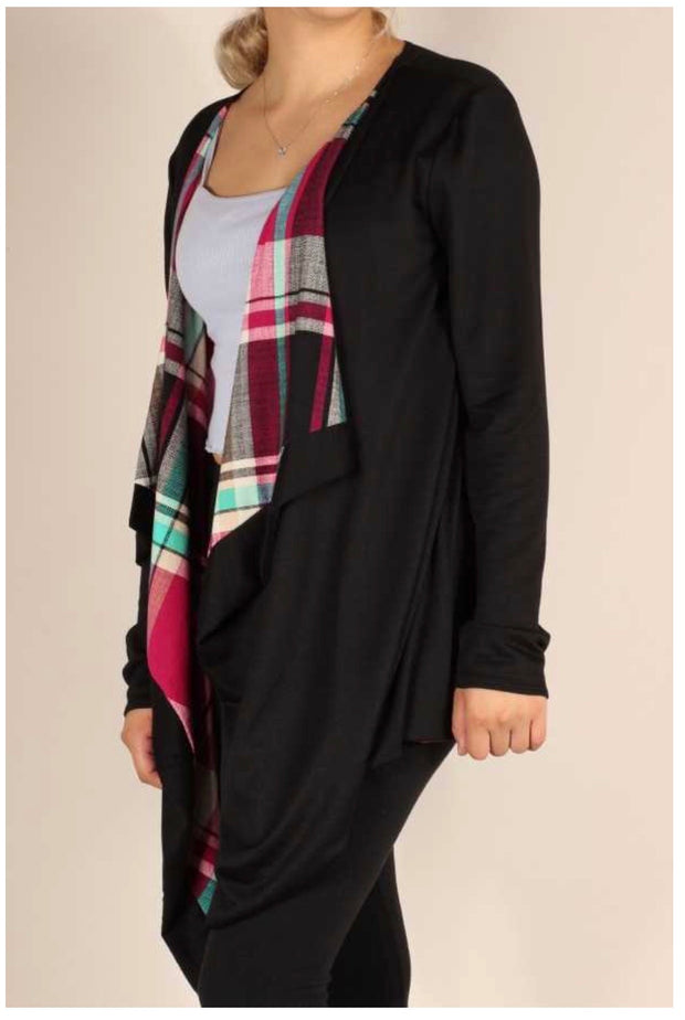 OT-Y {Plaid Wonders} Black Cardigan Magenta & Teal Plaid Detail PLUS SIZE 1X 2X 3X