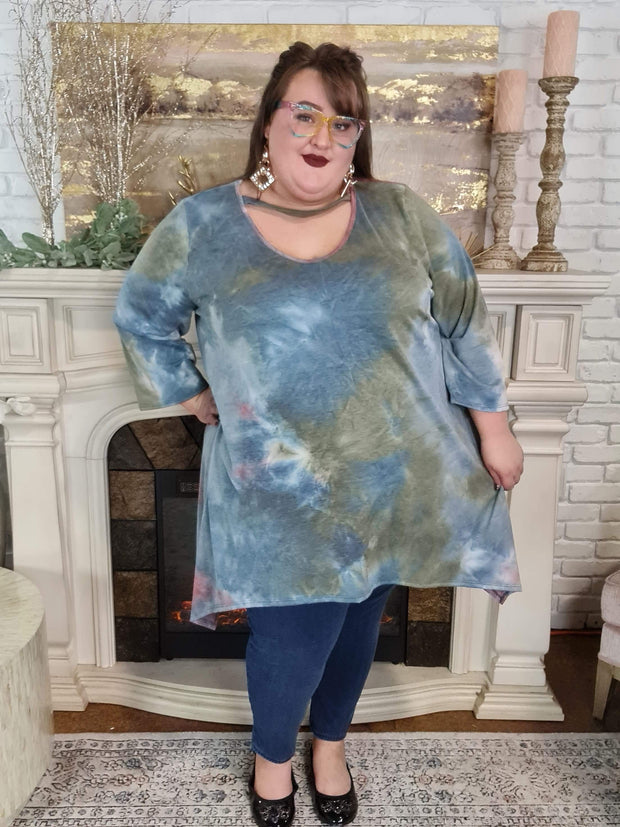20 PQ-B {A New Look} SALE!! Blue Tie Dye Bar Neck Tunic CURVY BRAND EXTENDED PLUS SIZE 3X 4X 5X 6X