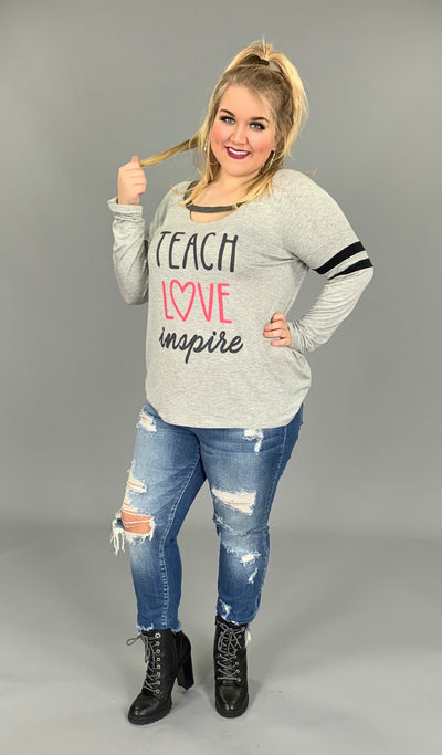 GT-L {Teach Love Inspire} Gray Top with Black Striped Detail  SALE!!