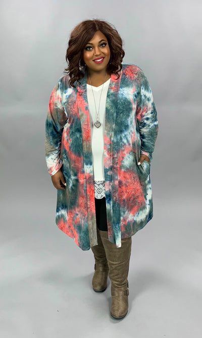 OT-Z {Morning Madness} Pink Blue Tie Dye Cardigan BUTTER SOFT EXTENDED PLUS SIZE 4X 5X 6X