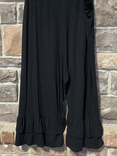 BT-H {Cute As Can Be}Black Double Ruffle Capri Pant Curvy Brand EXTENDED PLUS SIZE 3X 4X 5X 6X