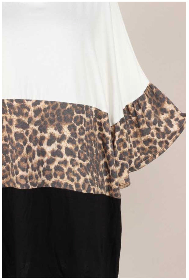CP-H {My Best Look} Ivory Leopard Black Contrast Top EXTENDED PLUS SIZE 3X 4X 5X