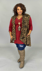 OT-D {What Matters Most} Leopard Print Vest with Pockets EXTENDED PLUS