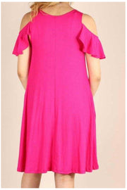 OS-A {Town Outing} Fuchsia Open Shoulder Dress W/Pockets PLUS SIZE 1X 2X 3X SALE!!
