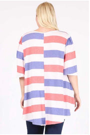 54 PSS-X {Essential Stripes} Coral Purple White Striped Tunic EXTENDED PLUS SIZE 3X 4X 5X