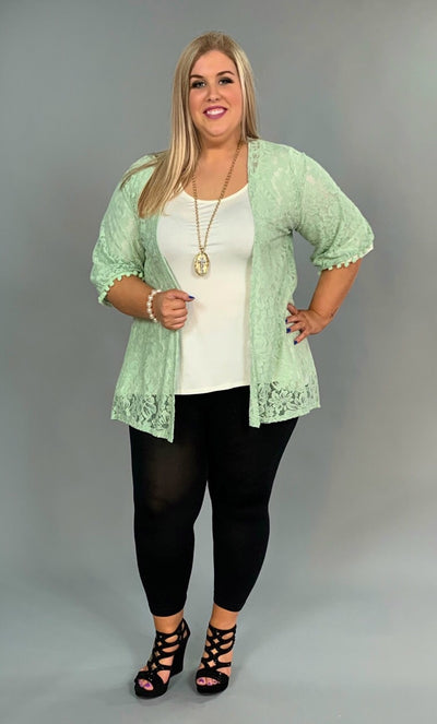 OT-C Green Lace Cardigan With Pom-Pom Detail