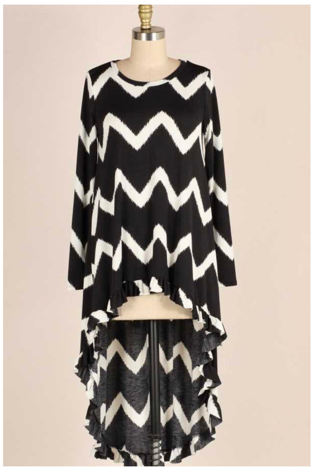PLS-Z {Perfectly Me} Black & White Chevron High Low Tunic PLUS SIZE 1X 2X 3X