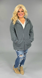 OT-T {Comfy Chic} Medium Grey Hoodie Jacket Full Zipper  SALE!!  PLUS SIZE 1X 2X 3X