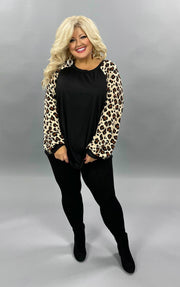 32 CP-K {It's Fierce} Black Ribbed Tan Leopard Sleeve Top PLUS SIZE XL 2X 3X